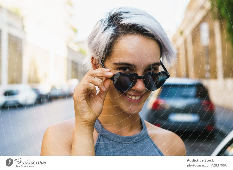 Laughing woman posing at street Woman Posture Town romantic Style Youth (Young adults) Vacation & Travel Downtown Hair and hairstyles Summer Beauty Photography
