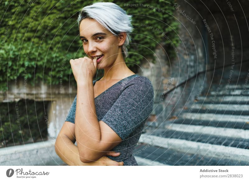 Pretty woman posing on stairs Woman Steps pretty Street Posture Youth (Young adults) Easygoing Handrail Girl Fashion City Beauty Photography step Stairs Model