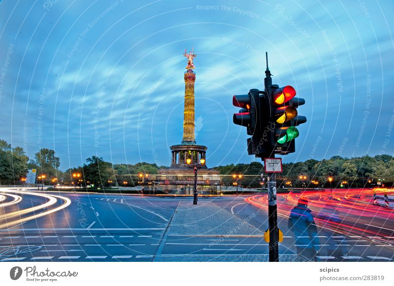 Dynamics of the big city Sky Clouds Tree Capital city Downtown Tourist Attraction Monument Goldelse victory statue Victory column Transport