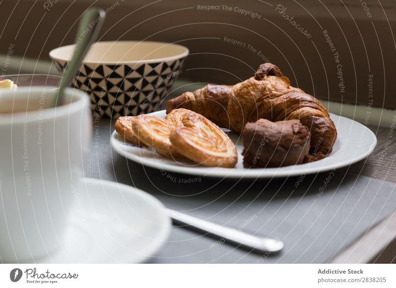 Croissant for breakfast Cookie Breakfast Close-up Coffee Cup Mug Food Sweet Meal Delicious Baked goods Fresh Healthy Morning Eating Hot Chocolate Drinking