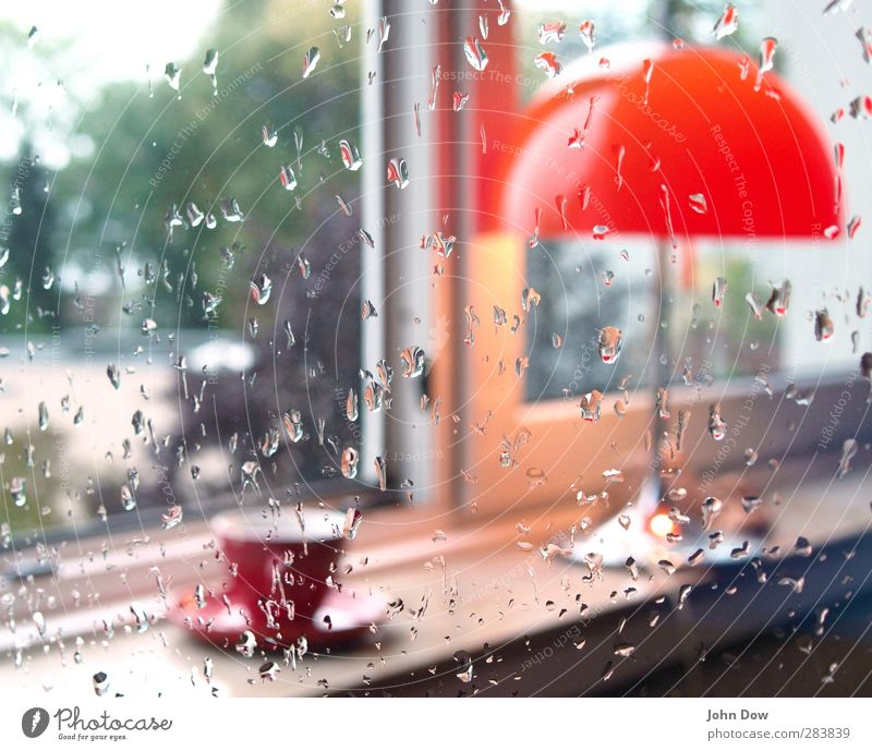 teatime Hot drink Coffee Tea Living or residing Interior design Furniture Lamp Garden Window Orange Table lamp Window board Cozy Teatime Cup Rain Drops of water