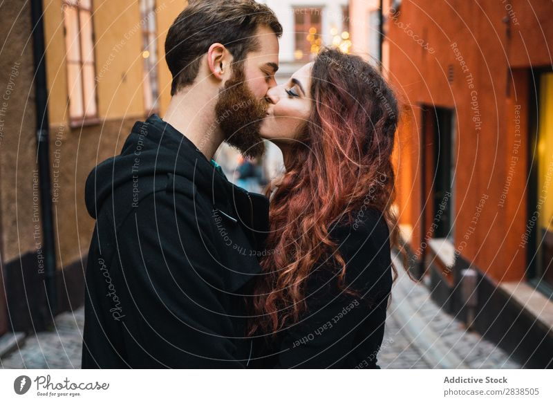 Couple kissing on street Street Happy City Human being Vacation & Travel Tourism Love Happiness Relationship Cheerful Youth (Young adults) Man Woman Romance 2