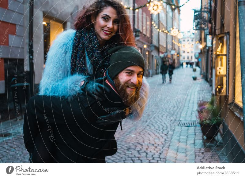 Man carrying woman on back Couple Street Happy City Carrying Human being Vacation & Travel Tourism Love Happiness Relationship Cheerful Youth (Young adults)