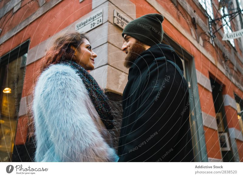 Couple posing on street Street Happy City Human being Vacation & Travel Tourism Love Happiness Relationship Cheerful Youth (Young adults) Man Woman Romance 2