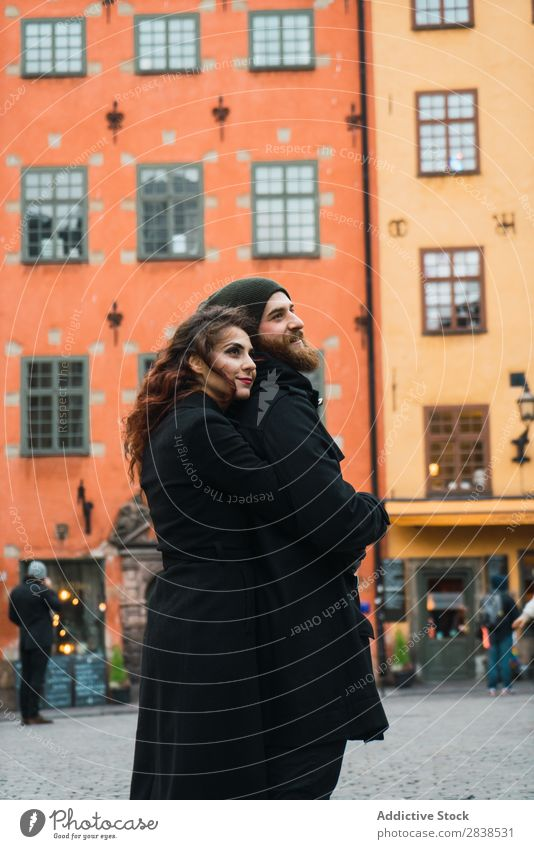Man posing with girlfriend on street Couple Street Happy City Carrying Human being Vacation & Travel Tourism Love Happiness Relationship Cheerful