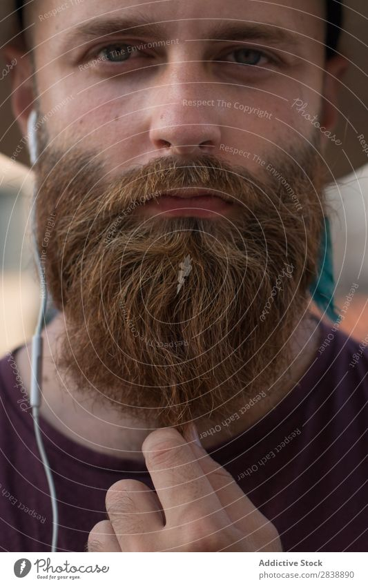 Crop bearded man posing at street Man Style grooming Hipster human face Brutal Portrait photograph Beard handsome Expression Straw hat Hip & trendy Considerate