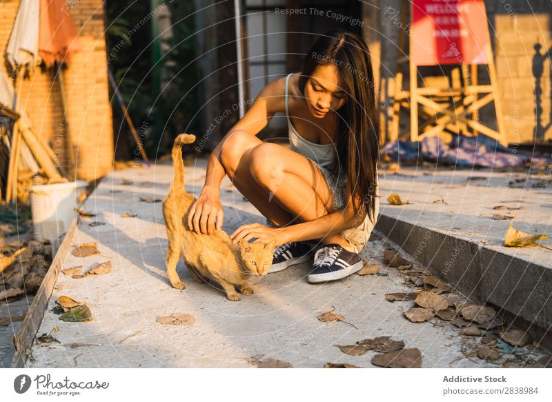 Asian Woman Playing With Cat A Royalty Free Stock Photo From Photocase