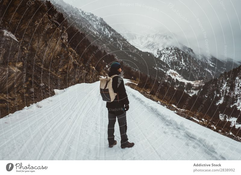 Man posing on snowy road Street Winter Hill Mountain Snow Landscape Nature White Ice Seasons Cold Vacation & Travel way Forest Frost Freeze Weather Rural