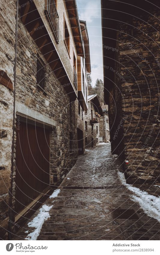 Alley in winter village Village Street Winter Snow Cold Town Old Architecture Vacation & Travel Building Stone House (Residential Structure) Tradition Tourism