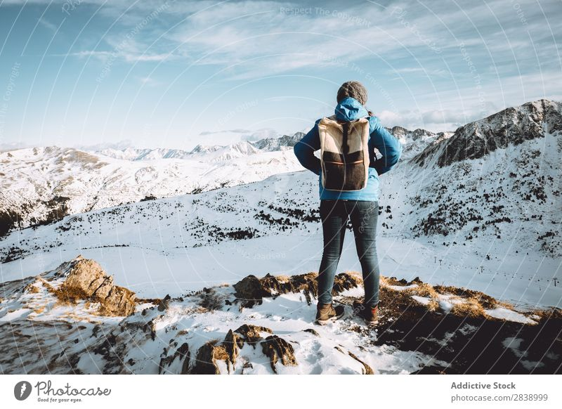 Tourist with backpack in mountains Human being Backpack Street Winter Hill Mountain Snow Landscape Nature White Ice Seasons Cold Vacation & Travel way Frost