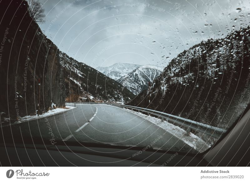 Road and snowy hills Car Vehicle Street Winter Hill Mountain Snow Landscape Nature White Ice Seasons Cold Vacation & Travel way Forest Frost Freeze Weather