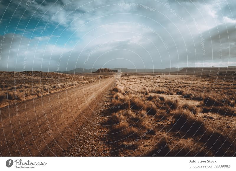 Dry road in cloudy day Street Nature Landscape Perspective Vacation & Travel Desert Landing Grass Sand Ground Environment Yellow Stone Wilderness Beautiful
