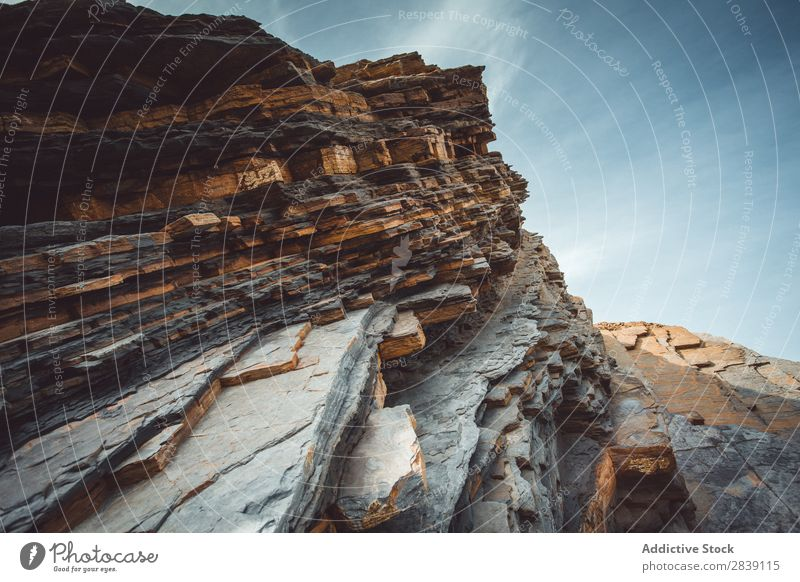 Rock formations in mountains Formation Cliff Nature Flysch Sakoneta Deba geological Landscape Tourism Exterior shot Structures and shapes Vantage point Stone