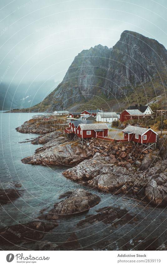 Village on island rocks Island Rock Coast scenery Hamnoya island Noruega Remote Destination residential Landscape Cliff Nature Tourism