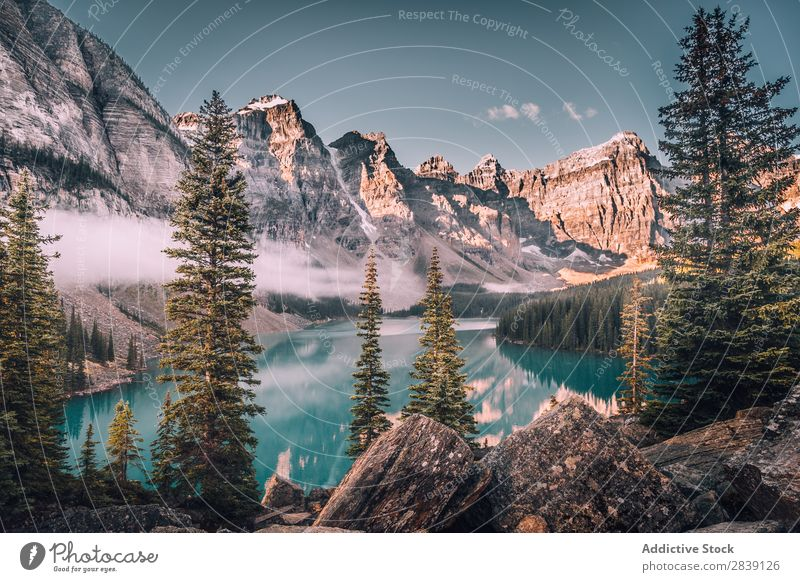 Glacial lake in snowy mountains Panorama (Format) Lake glacial Mountain Moraine Canada Moraine in Banff Landscape Nature Natural Reflection Tourism national