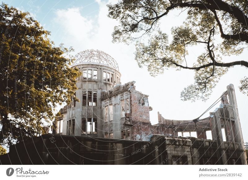 Destroyed old building under blue sky Cathedral Ruined Destruction historical Religion and faith heritage Architecture Historic Old Landmark Ancient Building