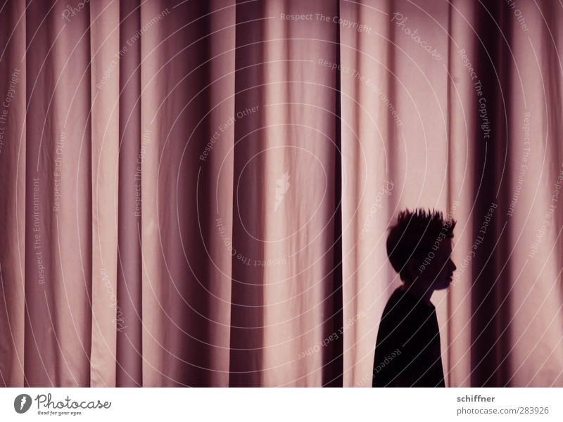 Kevin alone at home Human being Masculine Child Boy (child) Head Hair and hairstyles 1 3 - 8 years Infancy Violet Black Profile Silhouette Drape Wrinkles Folds