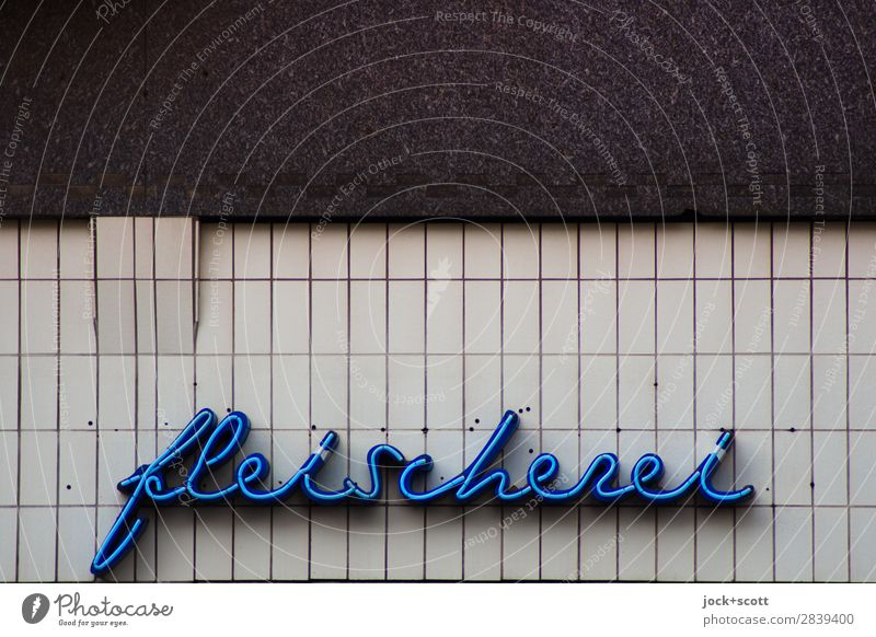 meat-free Trade Butcher Wall (building) Facade Decoration Characters Esthetic Retro Blue Design Nostalgia Style Tradition Curved Typography Ravages of time Tile