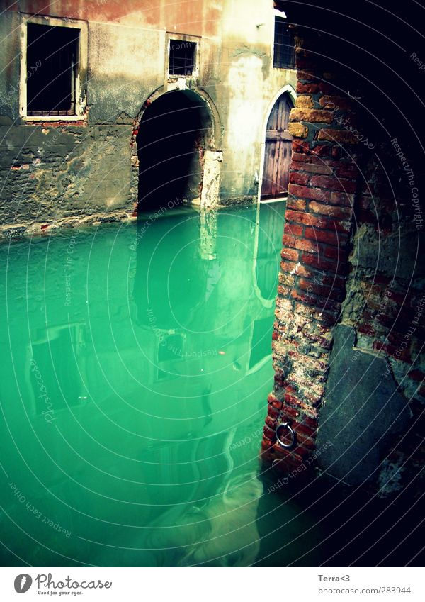 misterioso. Environment Water River Channel Lagoon Gloomy Blue Turquoise Venice Canal Grande Derelict Decline Wall (barrier) Reflection Gate Building Creepy