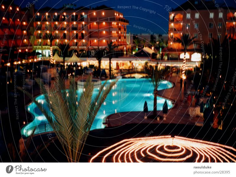 All Inclusive Hotel Night Swimming pool Vacation & Travel Palm tree Long exposure Alcohol-fueled Europe Grand Canary Light