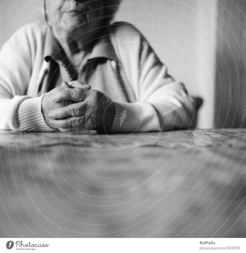 Human being Woman Old Hand Calm Face Wall (building) Feminine Senior citizen Arm Skin Sit Wait Fingers Table 60 years and older