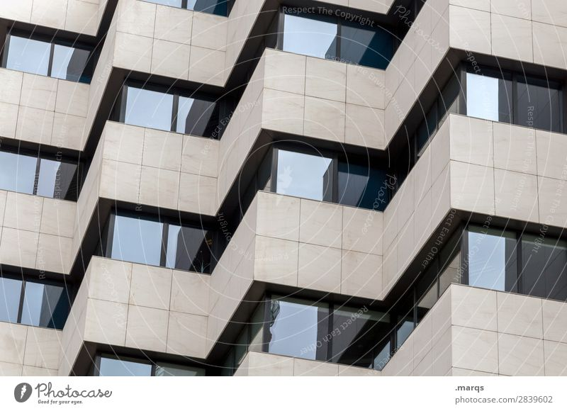 façade Facade Window Sharp-edged Modern Esthetic Arrangement Perspective Colour photo Exterior shot Deserted