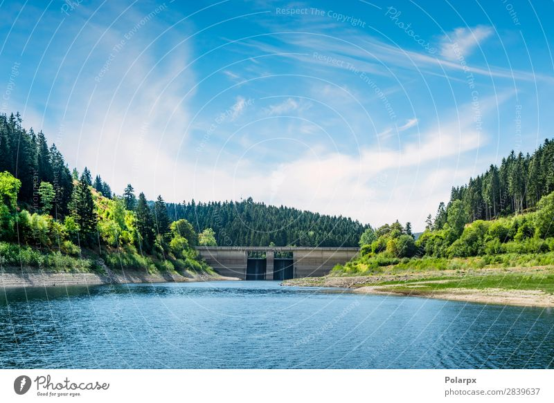 Dam in a colorful landscape in the summer Sky Vacation & Travel Nature Summer Blue Beautiful Green Landscape Tree Ocean Forest Mountain Architecture Environment