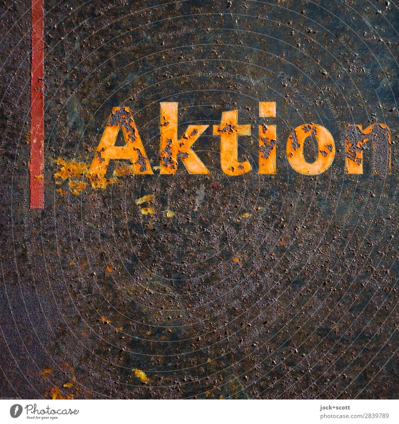Aged Aktion Old Colour Style Time Art Orange Moody Design Line Metal Retro Characters Dirty Signs and labeling Authentic Transience