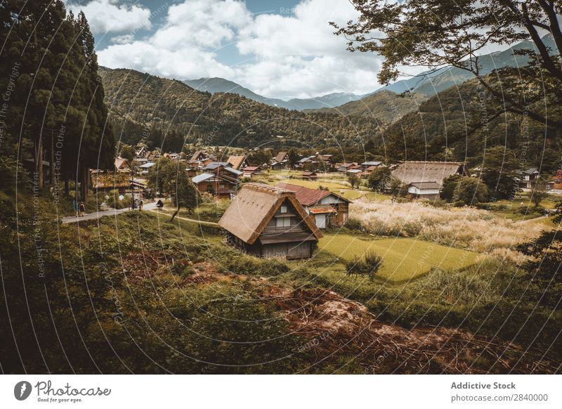 Landscape of exotic rural village Mountain Village Valley orient Vacation & Travel Remote Agriculture House (Residential Structure) Tourism Tradition