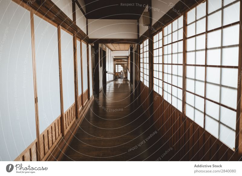 Hallway in Asian house Interior design House (Residential Structure) asian Tradition Corridor Home Culture Room Wood oriental Japanese Minimalistic Design decor