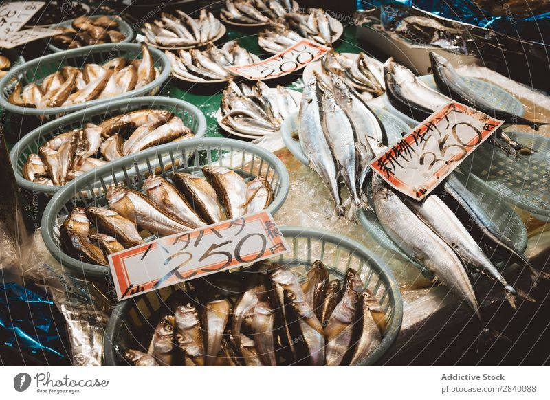 Different fish on counter Fish Counter Markets asian Food Fresh Raw Supermarket Storage Silver Nutrition Gourmet Retail sector Meal Ocean Marketplace Catch