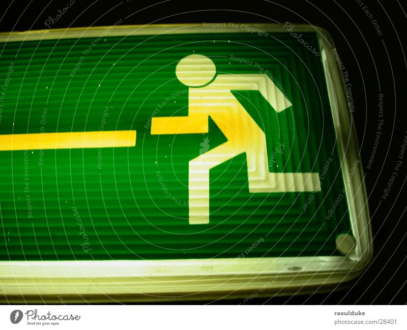 Living or residing Way out Neon sign Emergency exit Underground garage