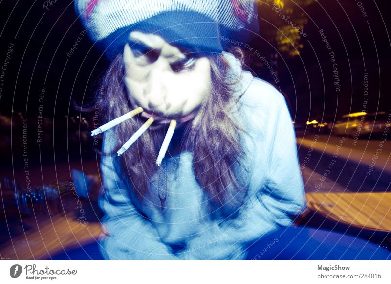 Madness with three cigarettes Human being Feminine Woman Adults 1 Smoking Fantastic Creepy Trashy Movement Chaos Identity Puzzle Whimsical Surrealism Cigarette