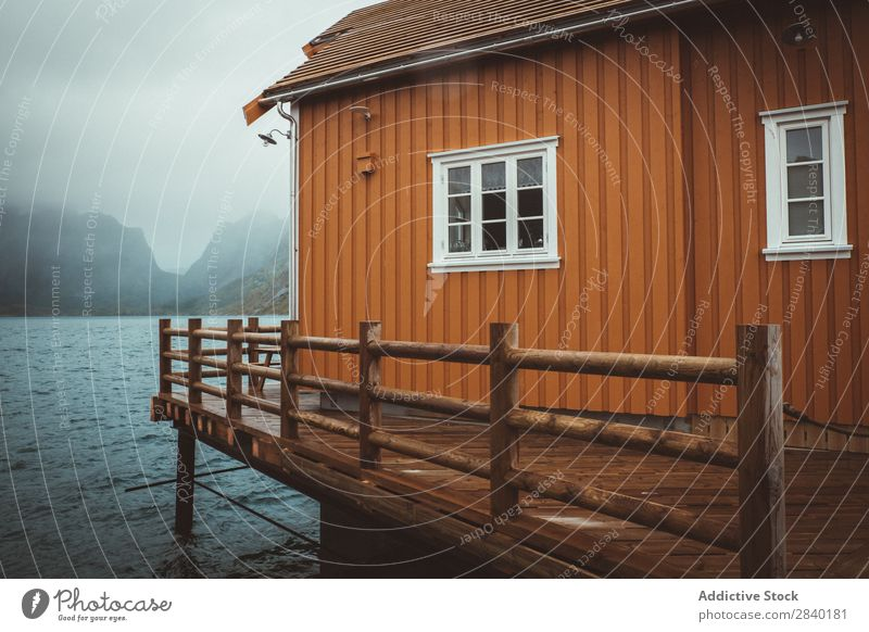 Typical norwegian cabin in Reine, Lofote, Norway Landscape Water Mountain Scandinavia Ocean