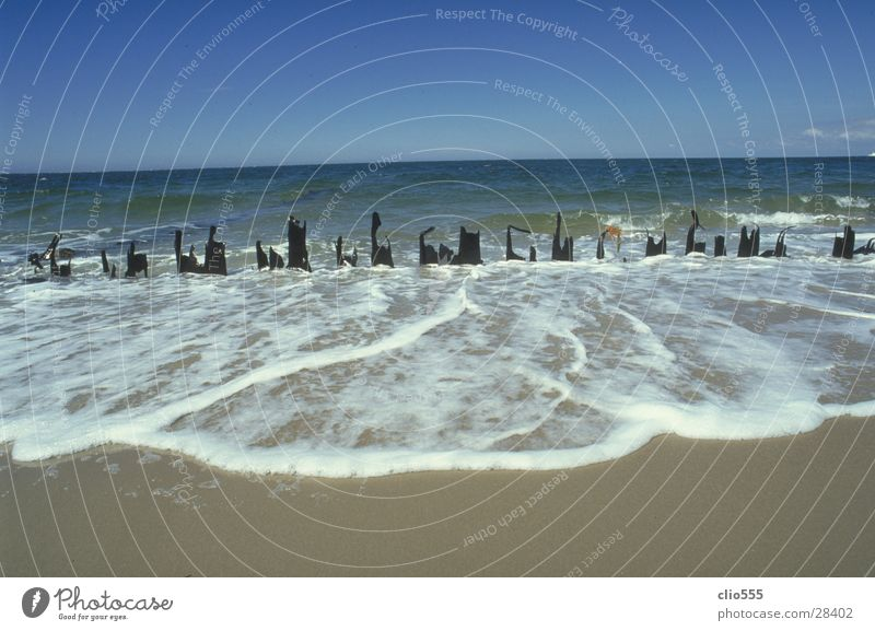 Water Sky Ocean Blue Beach Vacation & Travel Far-off places Sand Waves Horizon Fence Beautiful weather North Sea Foam