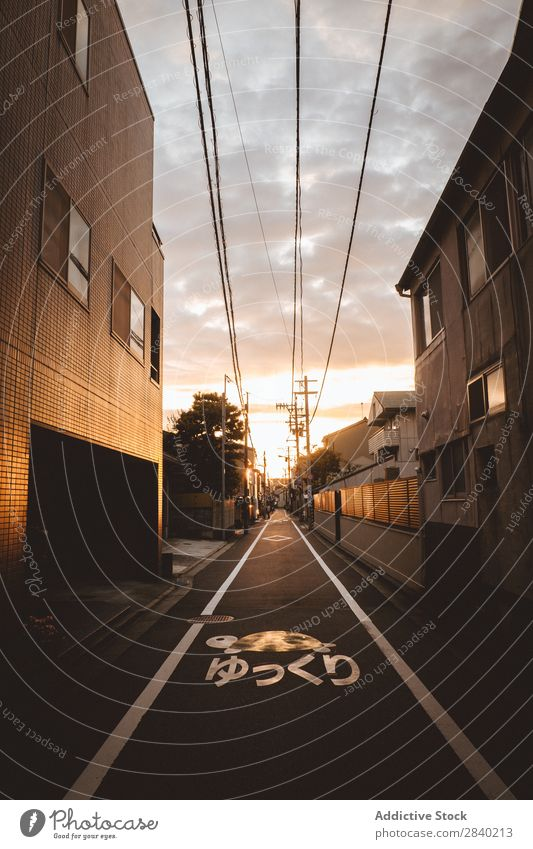 Street in Japanese town Town Sunset Architecture Vacation & Travel Tourism asian Skyline Vantage point Light Landscape residential House (Residential Structure)