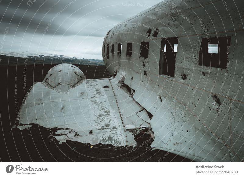 DC-3 Dakota wreckage in Solheimasandur beach, Iceland Airplane Nature apocalyptic dakota Accident Damage Cockpit Crash Loneliness Wreck Vintage icelandic