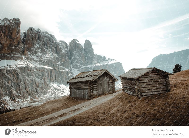 Cabins on plain in mountains House (Residential Structure) abandoned Mountain Plain Farmhouse Nature Picturesque Landscape Highland cattle tranquil Exterior Hut