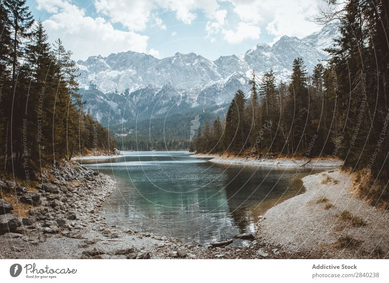 Stream of water and mountains Landscape Mountain Fog Nature Vacation & Travel scenery Panorama (Format) Peak Range River Environment Freedom national Peaceful