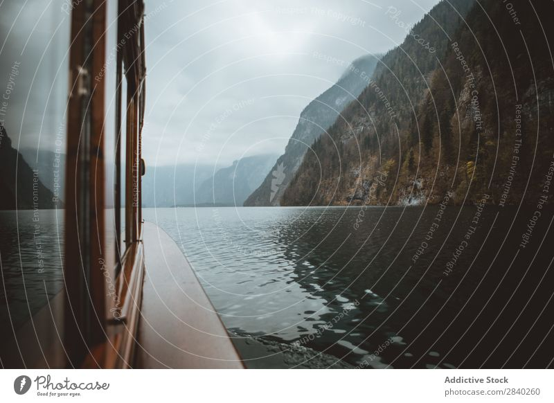 Boat in the Konigsee Lake Alpine konigsee Landscape Park Water Berchtesgaden Mountain Nature bayern Vacation & Travel national Reflection Lake Obersee Colour