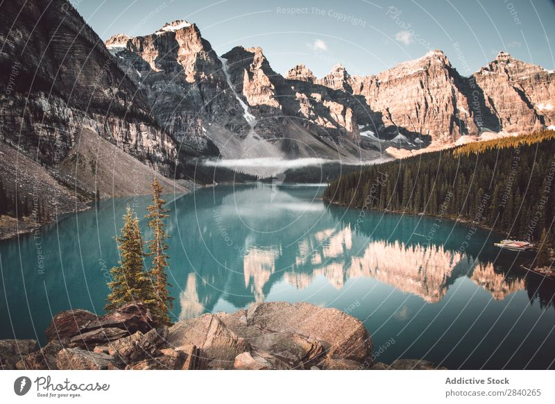 Lake Moraine, snowy mountains Mountain snows Basin Tourism Reflection Landscape Blue Mirror Panorama (Format) Surface Nature Valley Snow Sky Majestic