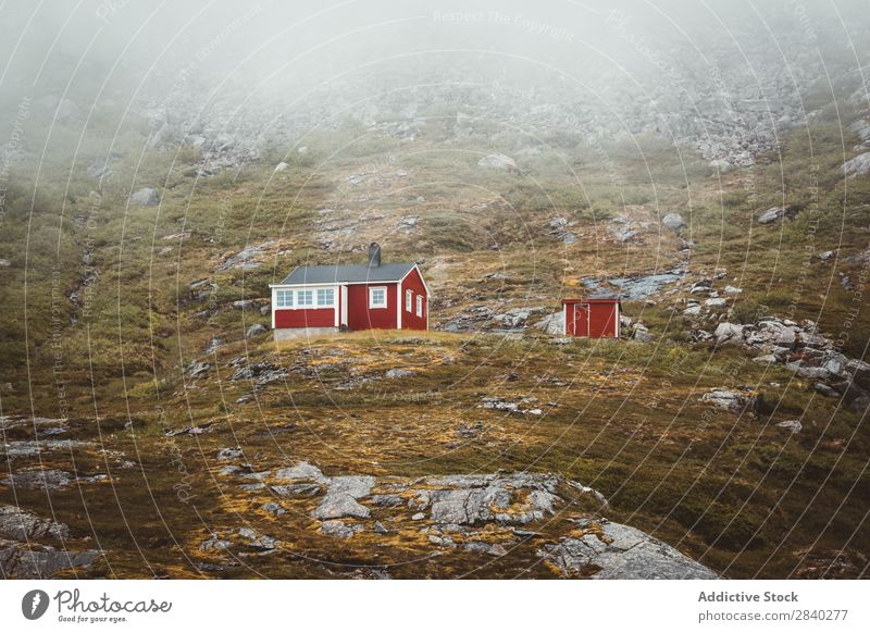 Red Cabins in the norwegian mountains Mountain Vacation & Travel Vantage point Norway Hut Landscape Rural House (Residential Structure) Nature Cottage Wood
