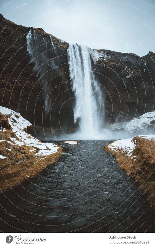Seljalandsfoss Waterfall, Iceland Beautiful Beauty Photography cascade Cliff Energy Autumn falling Flow Vacation & Travel icelandic Landmark Landscape Long