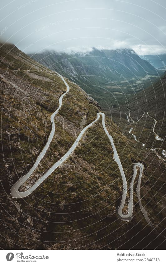 Curvy road in mountains, Trollstigen, Norway Valley Mountain Street serpentine Landscape Panorama (Format) Mysterious Rural Vantage point Curved Tourism