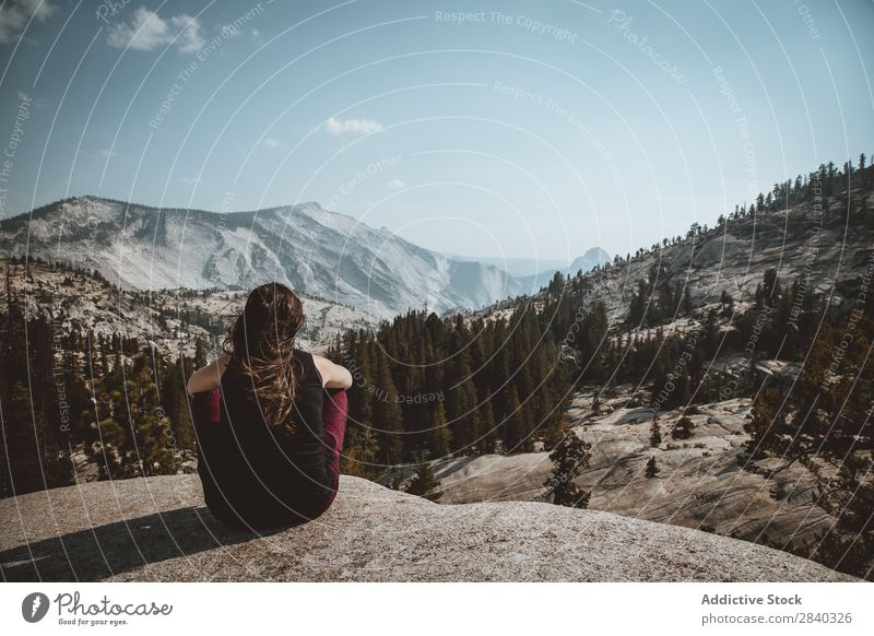 Woman posing on landscape on height Cliff Panorama (Format) Landscape Extreme Forest Valley Mountain Action Adventure coniferous Meditative Freedom Seasons Calm