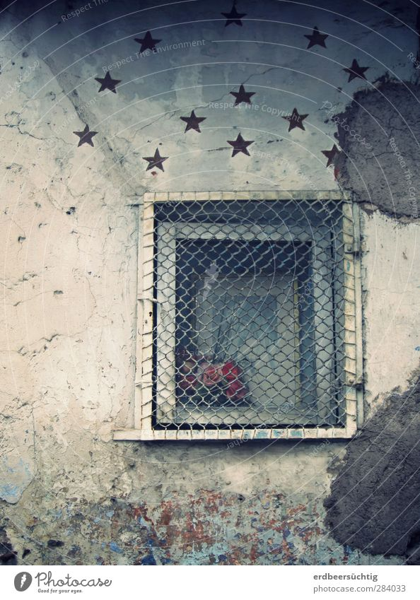 Window to the stars Stars Small Town Old town House (Residential Structure) Manmade structures Wall (barrier) Wall (building) Facade Plaster Bouquet Stone
