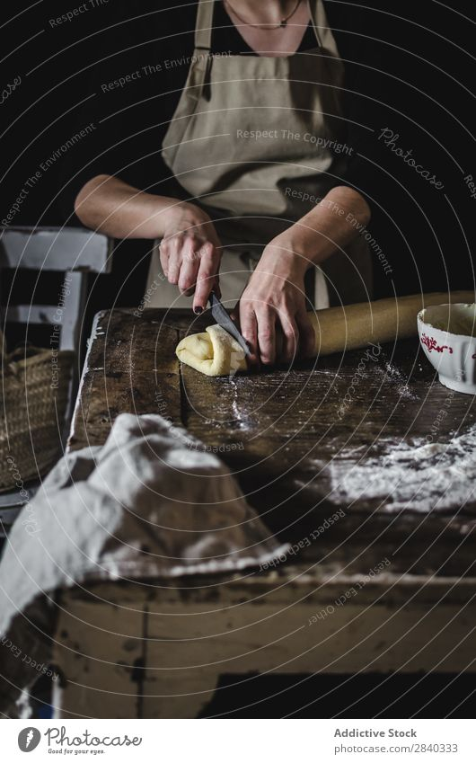 Woman making sweet pastry Human being Cooking Dough knead Rustic Flour Food rolling chef Bakery Baked goods Table Make Bread Ingredients Preparation Home-made