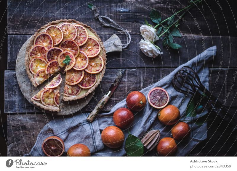 Tasty tart with red oranges Sweet Baked goods Rustic Orange Red citrus Fruit Delicious Dessert Food Fresh Home-made Gourmet Bakery Snack Breakfast Healthy