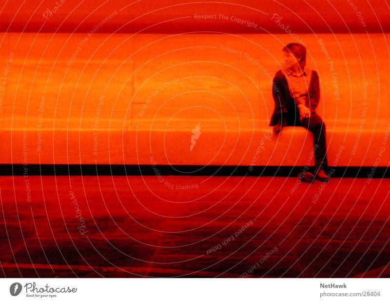 red light Woman Red Dark Bench Sit Wait