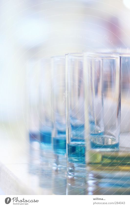 Water glasses with blue liquid Glass Alcoholic drinks Science & Research Laboratory Bright Blue Yellow Quality Addiction Fluid water sample Chemistry